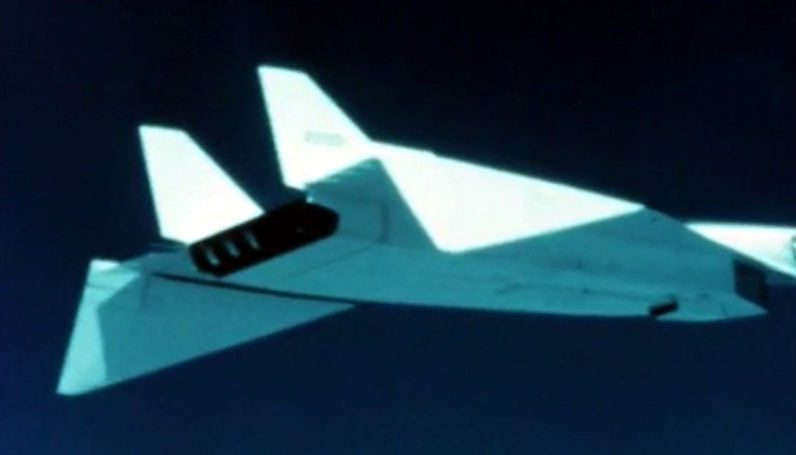B-70 Variable wing edge geometry in flight during a demonstration in California