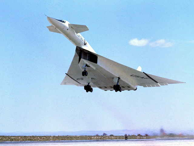NASA ECN-792 XB-70 Climbs Out after Takeoff