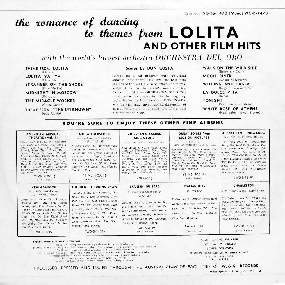 1962 Lolita and other Film Hits vinyl record flip side