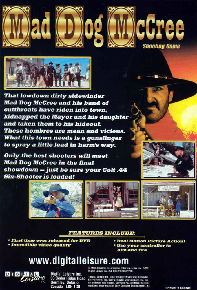 Mad Dog McCree Shooting Game DVD instructions back
