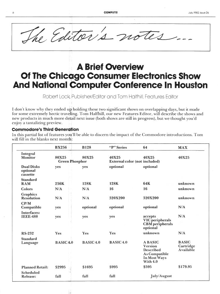 Chicago Consumer Electronics Show - Commodore's Third Generation