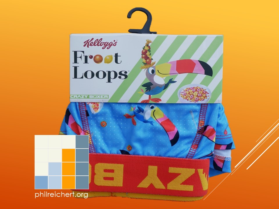 Kellogg's Fruit Loops novelty boxer trunks front