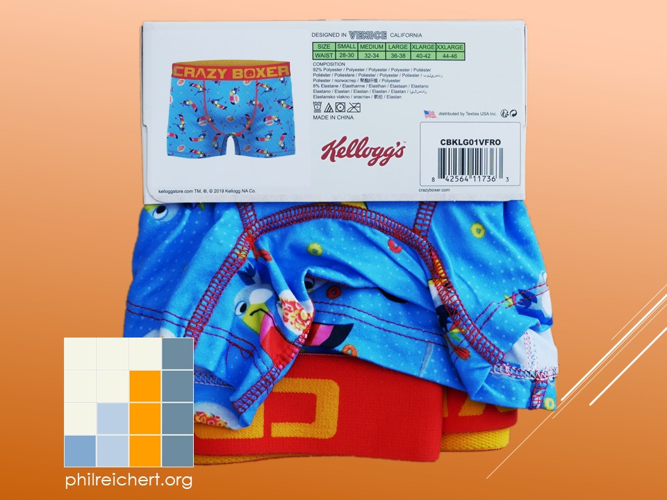 Kellogg's Fruit Loops novelty boxer trunks back
